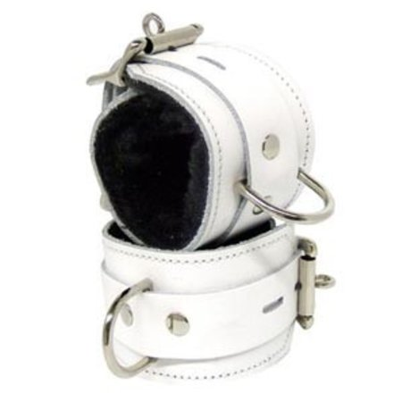 Fleece-Lined Cuffs, Locking Buckle, White