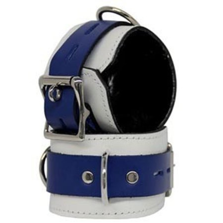 Fleece-Lined Cuffs, Locking Buckle, White/Blue