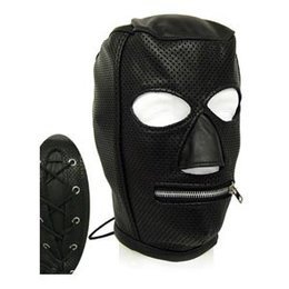 Kookie Perforated Leather Slave Hood with Zipper Mouth