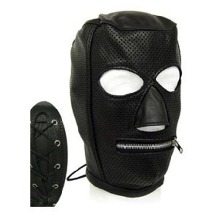 Perforated Leather Slave Hood with Zipper Mouth
