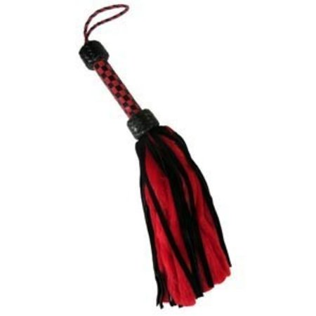 Suede and Fluff Mini Flogger, Black/Red