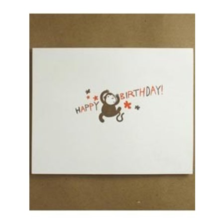 Egg Press Happy Birthday Monkey Greeting Card