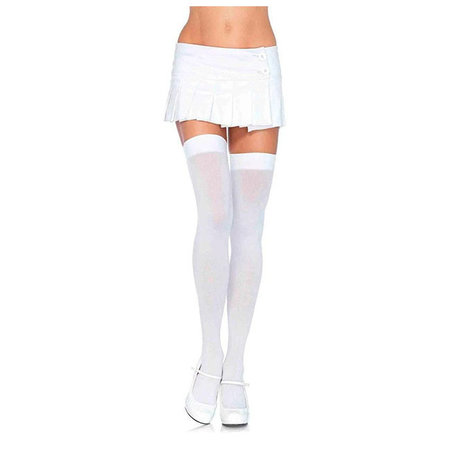 Opaque Nylon Thigh Highs 6672, White
