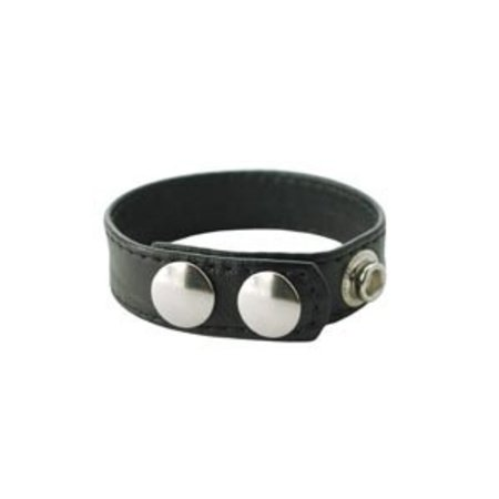 Sewn Leather Cock Ring with 3-Snap Closure