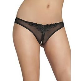 Oh La La Cheri Crotchless Thong with Pearls 2066, Black