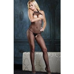 Leg Avenue Seamless Halter Peek-A-Boo Fishnet Bodystocking 8350