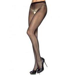 Sheer Nylon Crotchless Pantyhose 1905, Black