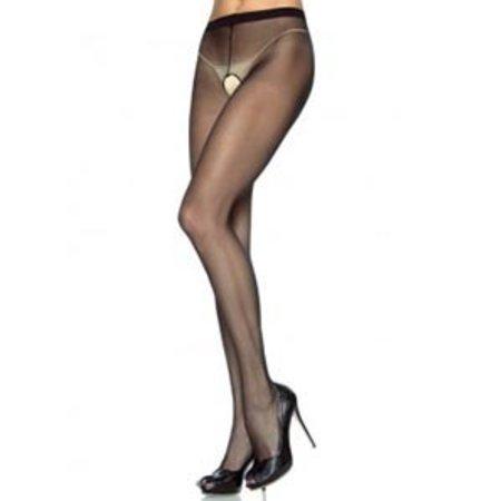 Leg Avenue Sheer Nylon Crotchless Pantyhose 1905, Black