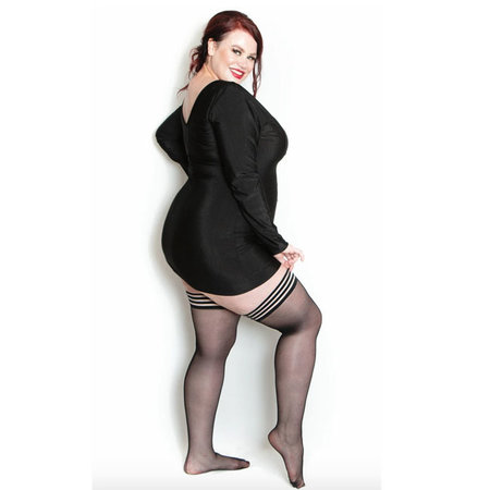 Kix'ies Taylor Silky Sheer Thigh High, Black