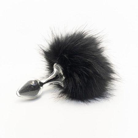Sparkle Faux Fur Bunny Tail, Black