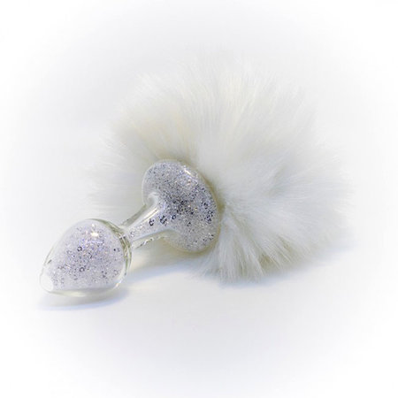 Crystal Delights Sparkle Faux Fur Bunny Tail, White