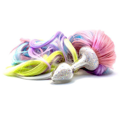 Crystal Delights Sparkle Pony Tail Plug, 5 color Pastel