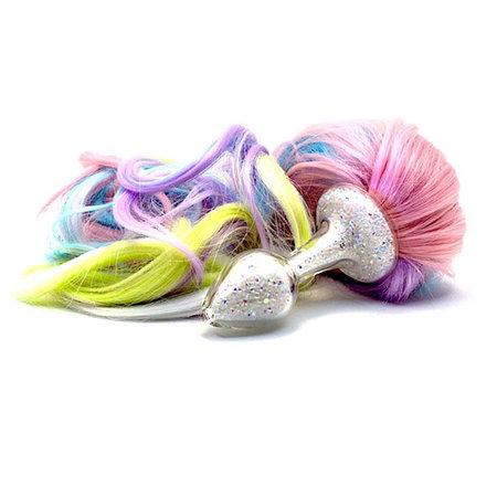Crystal Delights Sparkle Pony Tail Plug, 5 color Pastel