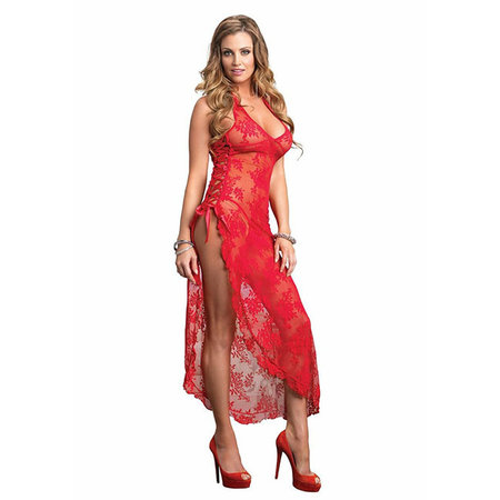 Halter Lace Long Gown w/ Lace Up Side 88009, Red