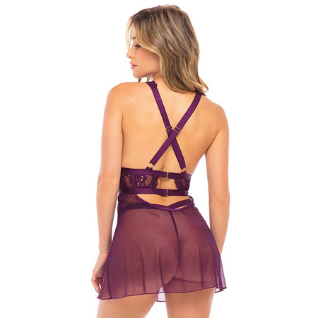 Joell Floral Lace Babydoll 75-11214, Potent Purple