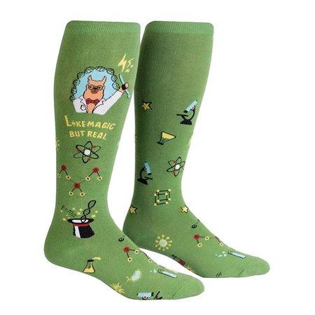 Stretch It Trust Me Llama Scientist Wide Calf Knee Socks