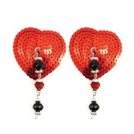 Bijoux de Nip Heart Red Sequin Pasties with Facet Beads