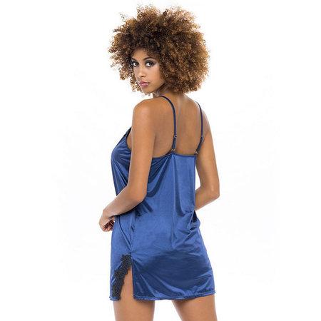 Karla Soft Satin Chemise LL-11584, Estate Blue/Black