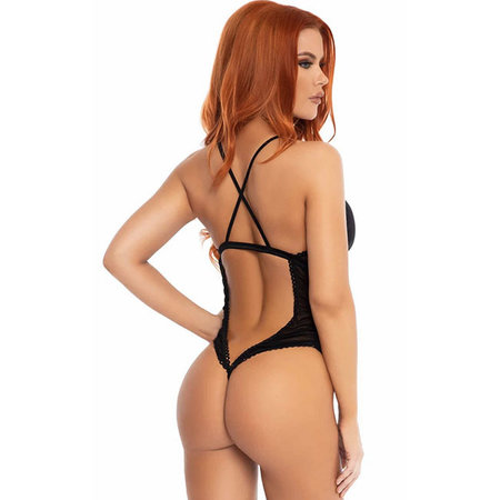 Scalloped Trimmed Ruched Lace Up Teddy 89264