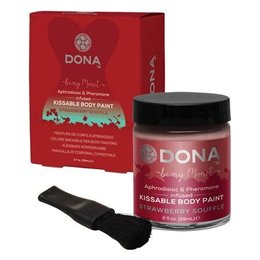 System Jo Dona Kissable Body Paint, Strawberry Souffle