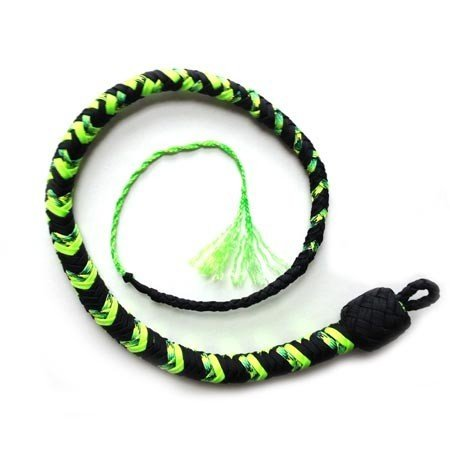 Katana Works 2 foot Paracord Whip, Black/Neon Green