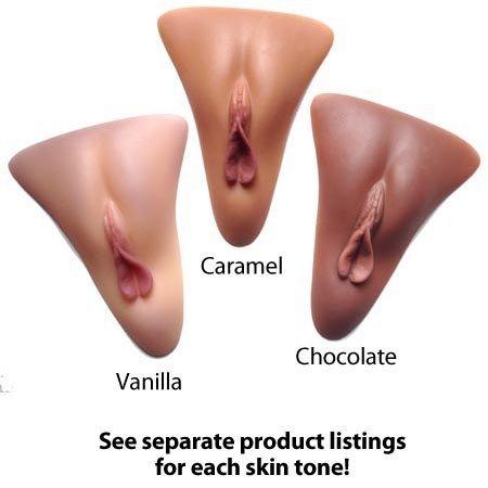 Selene Gaff With Silicone Vulva Insert, Chocolate (Dark Skin Tone)