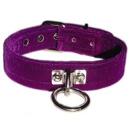 Kookie Velvet O-Ring Collar, Purple