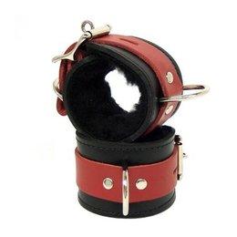 Fleece-Lined Cuffs, Locking Buckle, Black/Red