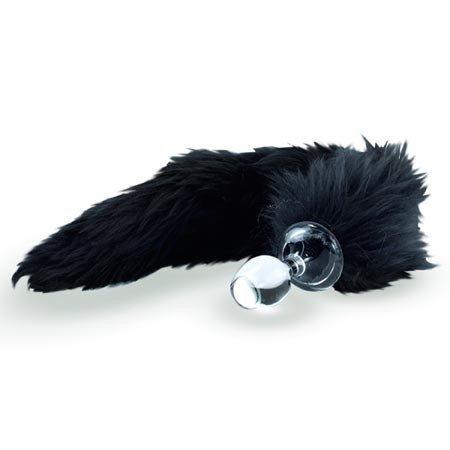 Crystal Minx Faux Fur Tail Plug, Black Fox