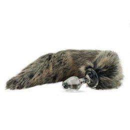 Crystal Minx Faux Fur Tail Plug, Grey Wolf
