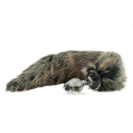 Crystal Minx Faux Fur Tail Plug, Grey Wolf