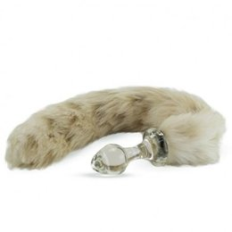 Crystal Minx Faux Fur Tail Plug, Snow Leopard