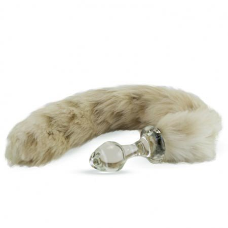 Crystal Minx Faux Fur Tail Plug, Snow Leopard