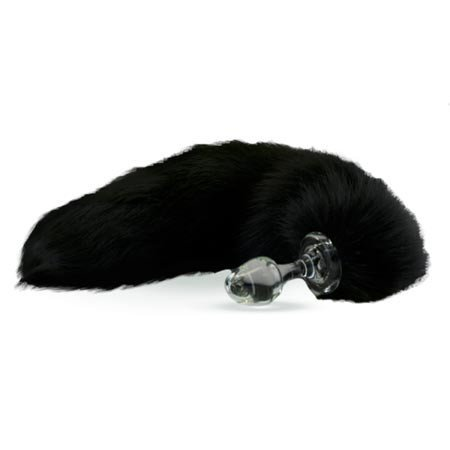 Crystal Delights Crystal Minx Fur Tail Plug, Black Fox