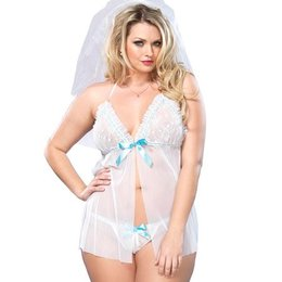 Leg Avenue 2 Piece Sheer Mesh Babydoll with Lace Ruffle Bodice 86580Q