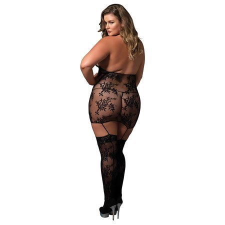Leg Avenue Lace Cage Strap Suspender Bodystocking 89172, Black Plus Size