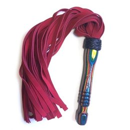 Katana Works Katana Works 69 Red Suede Flogger, Confetti Handle