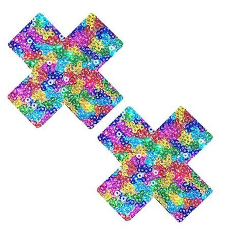 Neva Nude Nipztix UniPoo X Multicolor Cross Pasties
