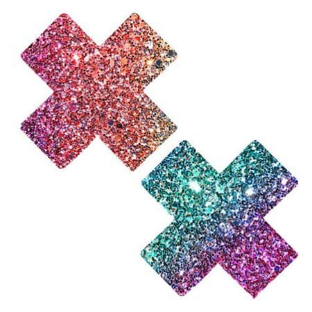 Neva Nude Nipztix X Factor Glitter Multicolor Cross Pasties