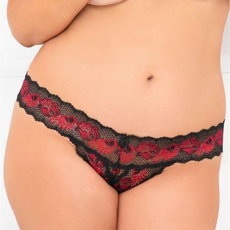 Rene Rofe Crotchless Lace V-Thong Black/Red 1037
