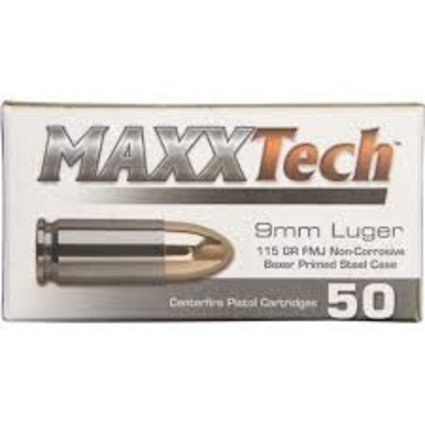 Maxxtech 9MM 115 GR STEEL CASE 1000RD