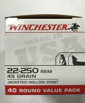 Winchester 22-250 rem 45 gr Jkt HP 40 pack