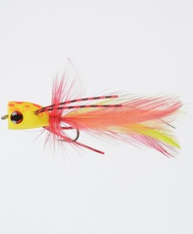Superfly Premium Dry Fly Poppin Bug-yellow/red #06