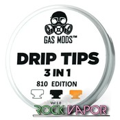 GAS MODS 3 IN 1 DRIP TIPS - BLACK, ULTEM & CLEAR
