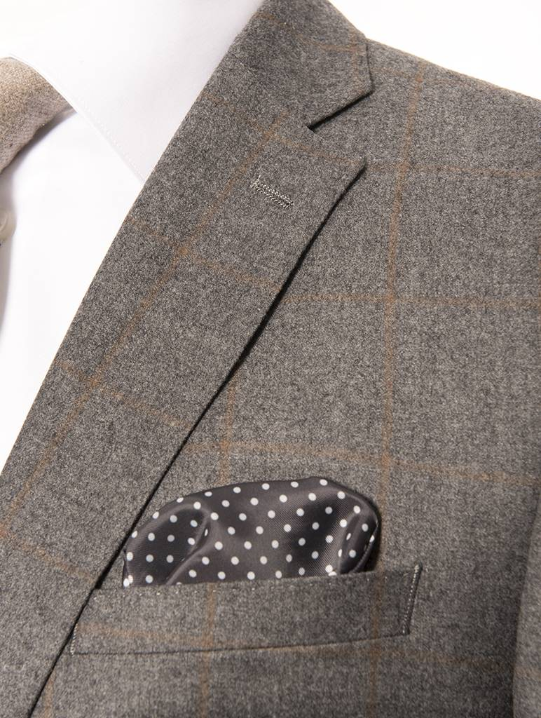 Tallia Tallia Varga Grey and Beige Window Pane Flannel Suit (SFX0093)