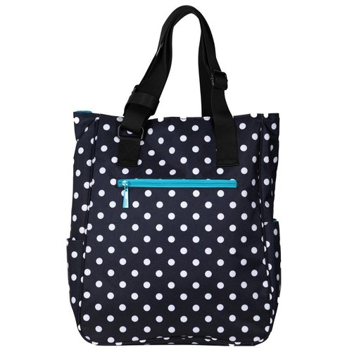 Maggie Mather Tennis Tote Blk/Wh Polka Dot