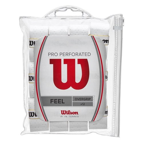 Wilson PRO OVERGRIP PERFORATED 12 PACK - WHITE