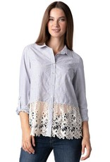 MULTIPLES MULTIPLES STRIPE BLOUSE WITH LACE HEM