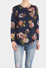 COCO & CARMAN COCO+CARMEN NAVY FLORAL BRUSHED TEE
