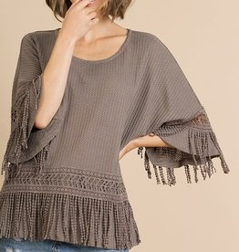 UMGEE WAFFLE TOP WITH FRINGE DETAIL(TWO COLORS)